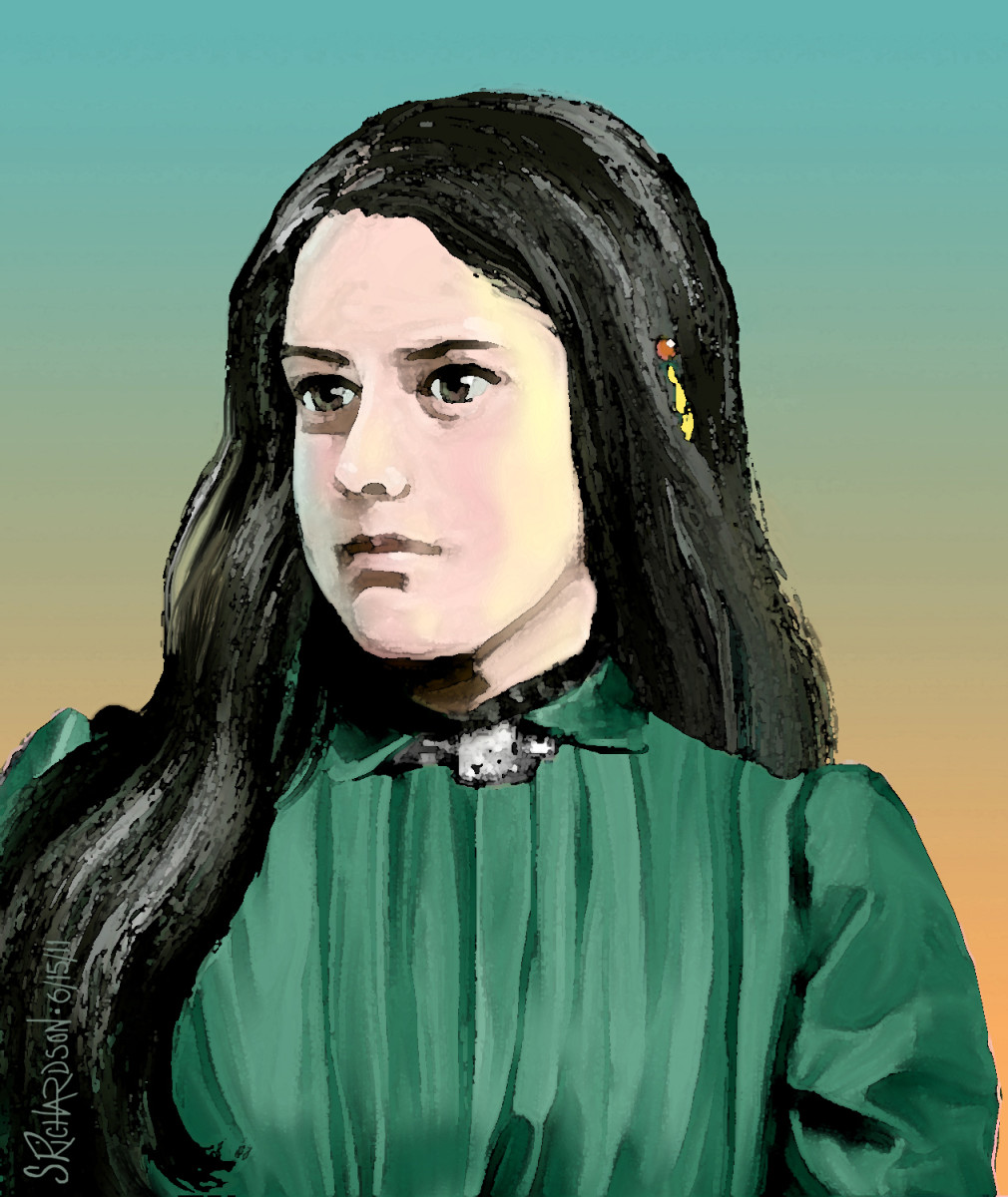 Marcia Pascal - half Cherokee. Daughter of Col. Pascal. This is an artist's conception of a colored version, by the author.