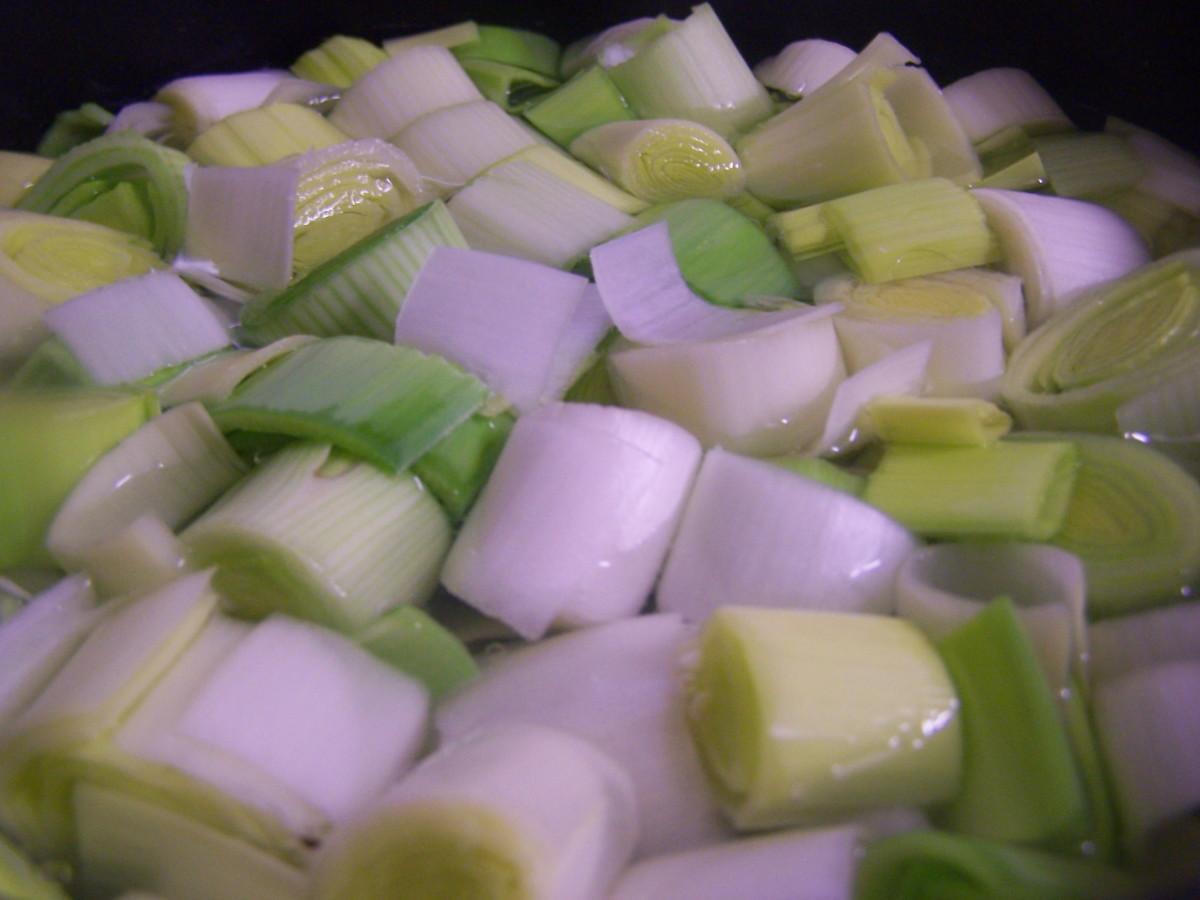 Chopped leeks - De rigueur for a Welsh Recipe!