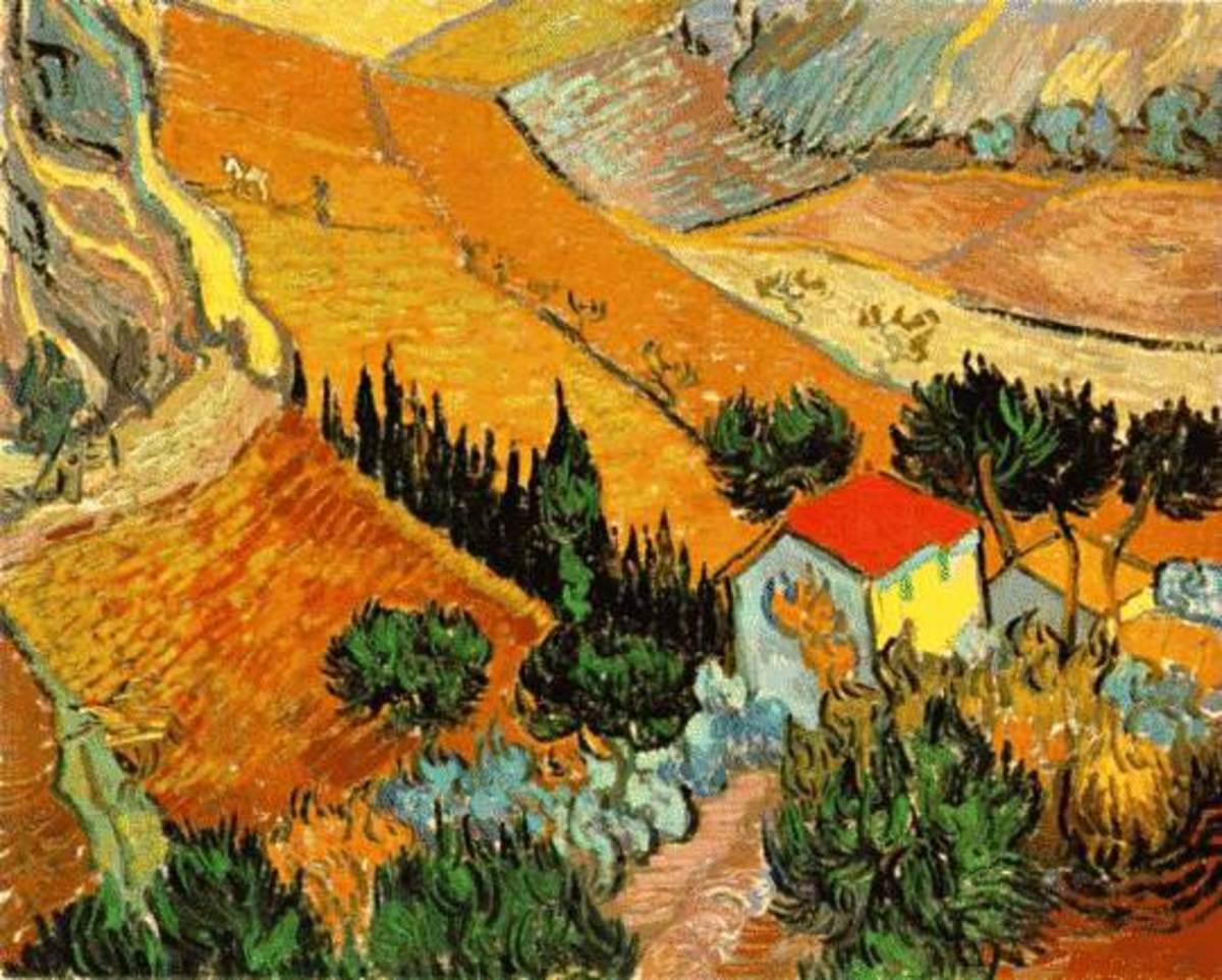 Van Gogh landscape with house free cross stitch pattern