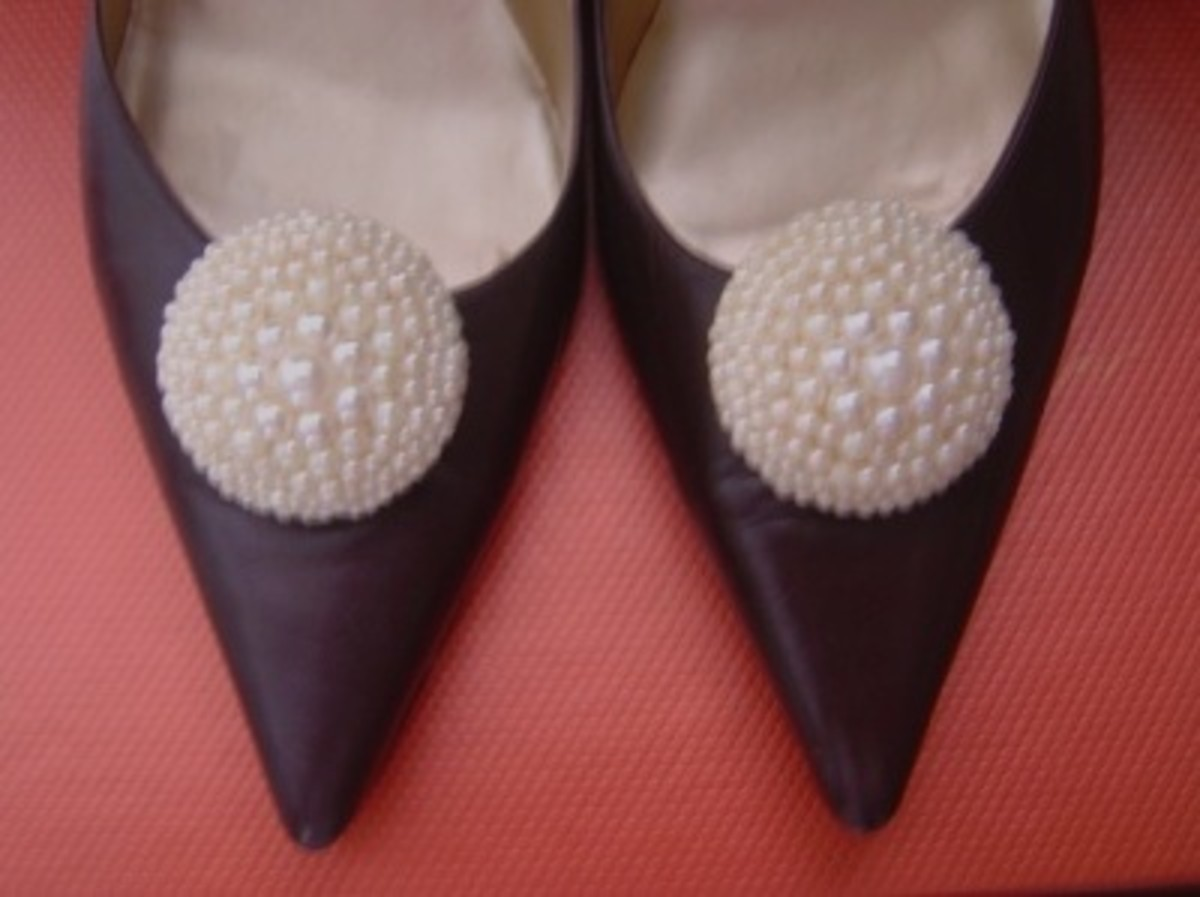 Beaded Cover-button Shoe Clips Pair