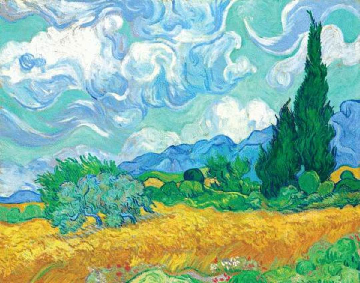 Van Gogh Wheatfield free cross stitch pattern