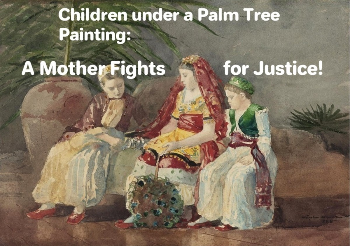 Children under a Palm Tree Painting - A mother fights for Justice