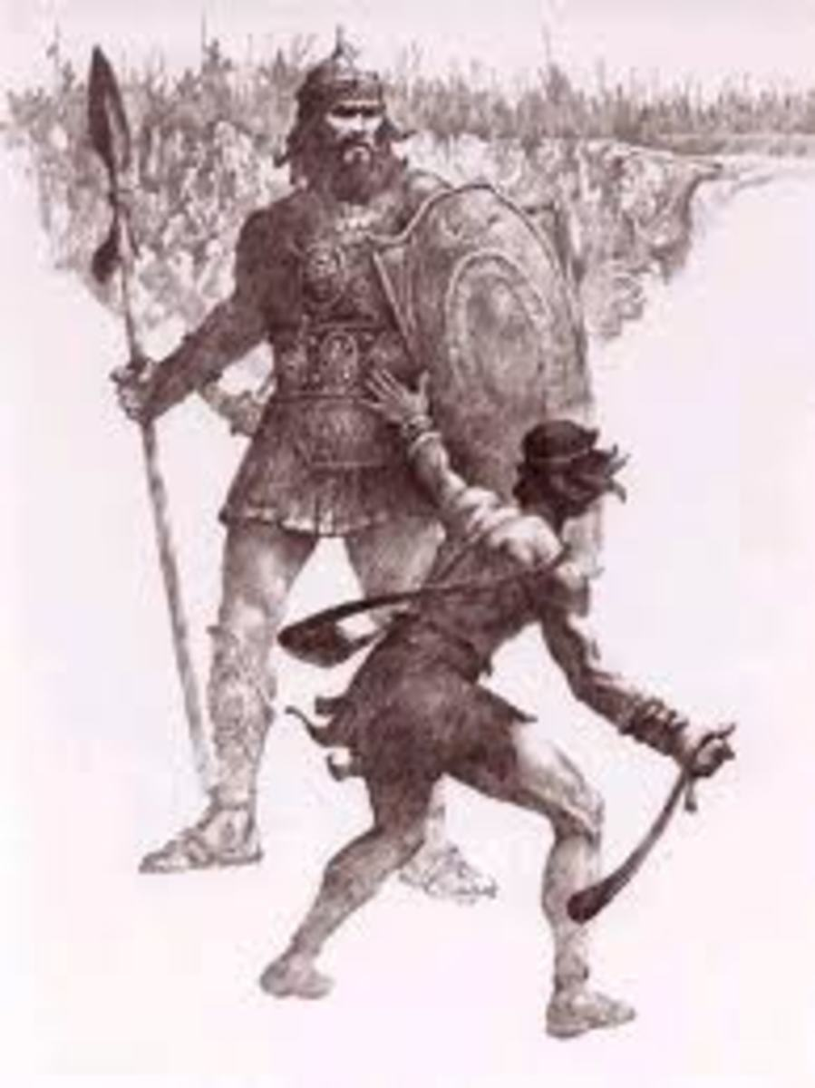 David battling Goliath. He destroyed the giant with smooth stones and a sling.
