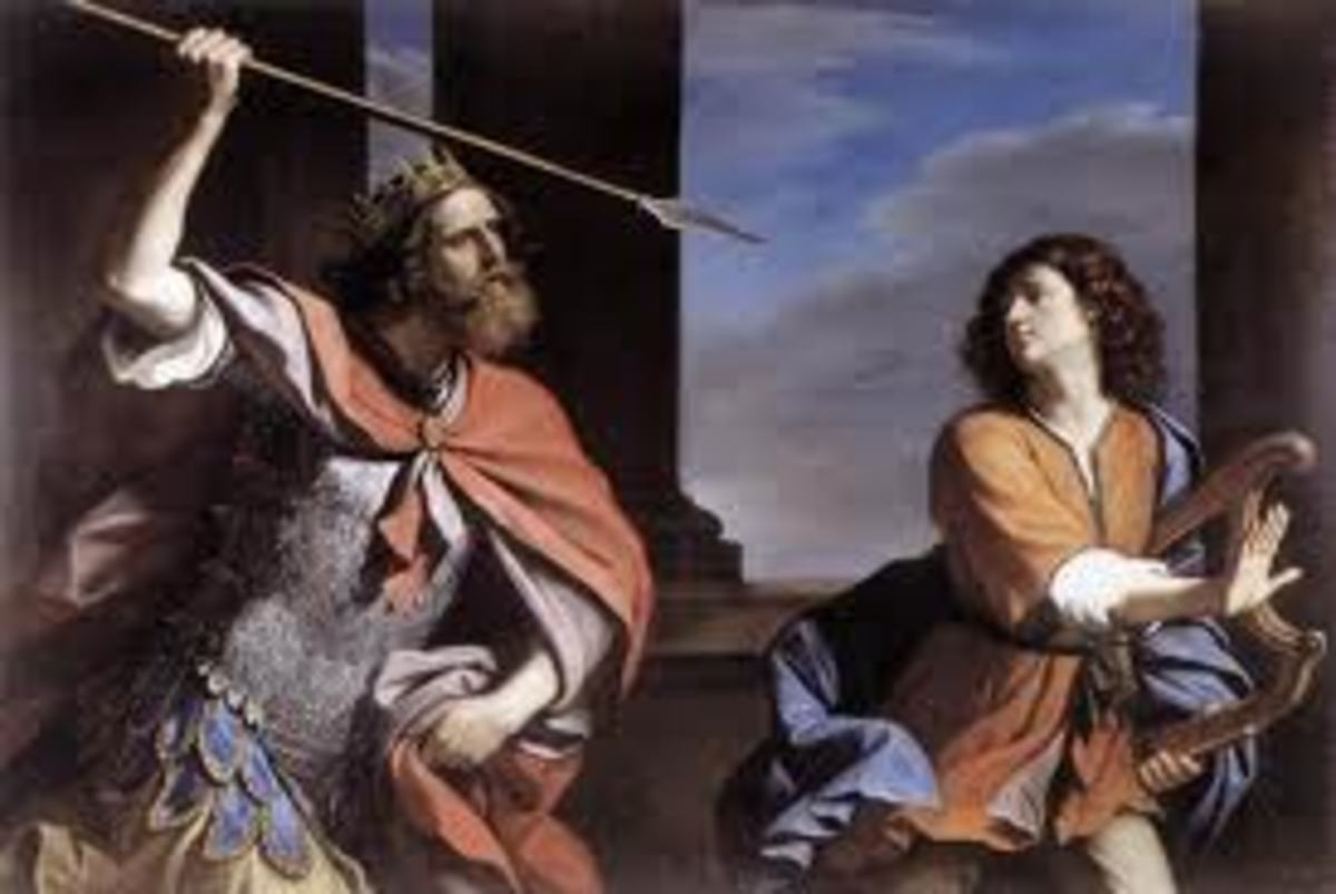Saul attacking David by Giovanni Francesco Barbieri