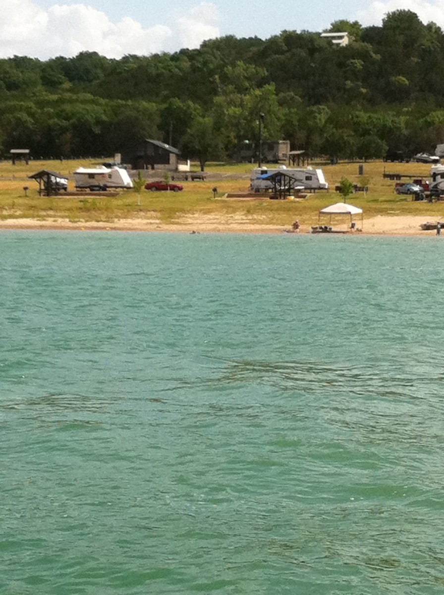 Campsite view from the water - Westcliff RV Camping sites - Lake Belton TX