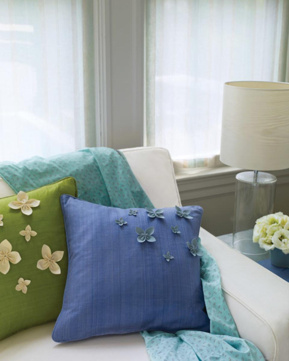 Ultrasuede flower pillows