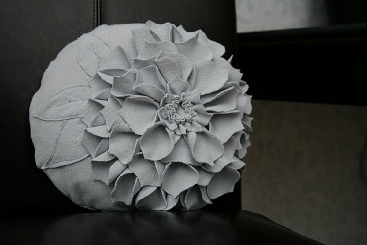 Upcycled Flower Pillow via Heather