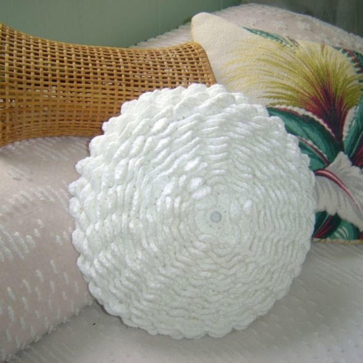 White DIY Crochet Flower Pillow