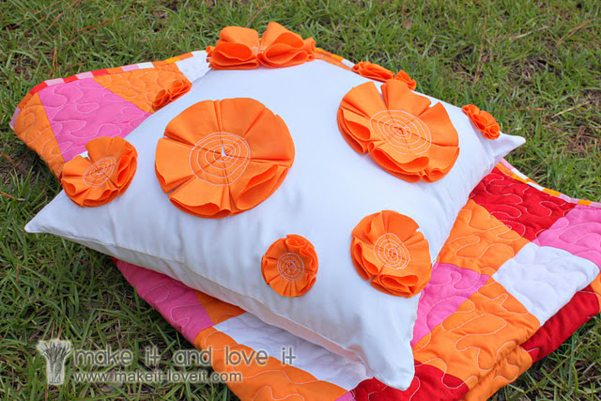 Orange Flower Pillow DIY