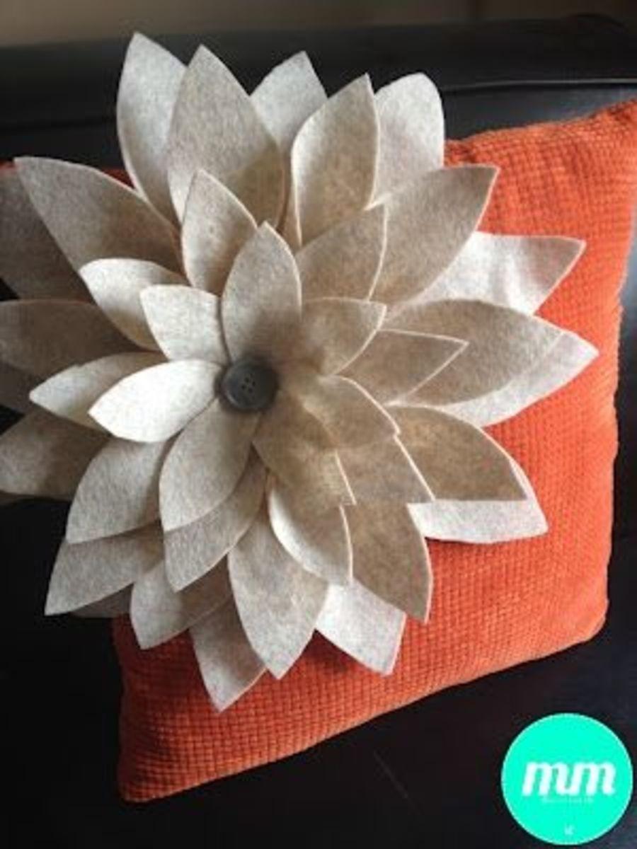DIY Felt Petal Pillow via Motherhood Musings