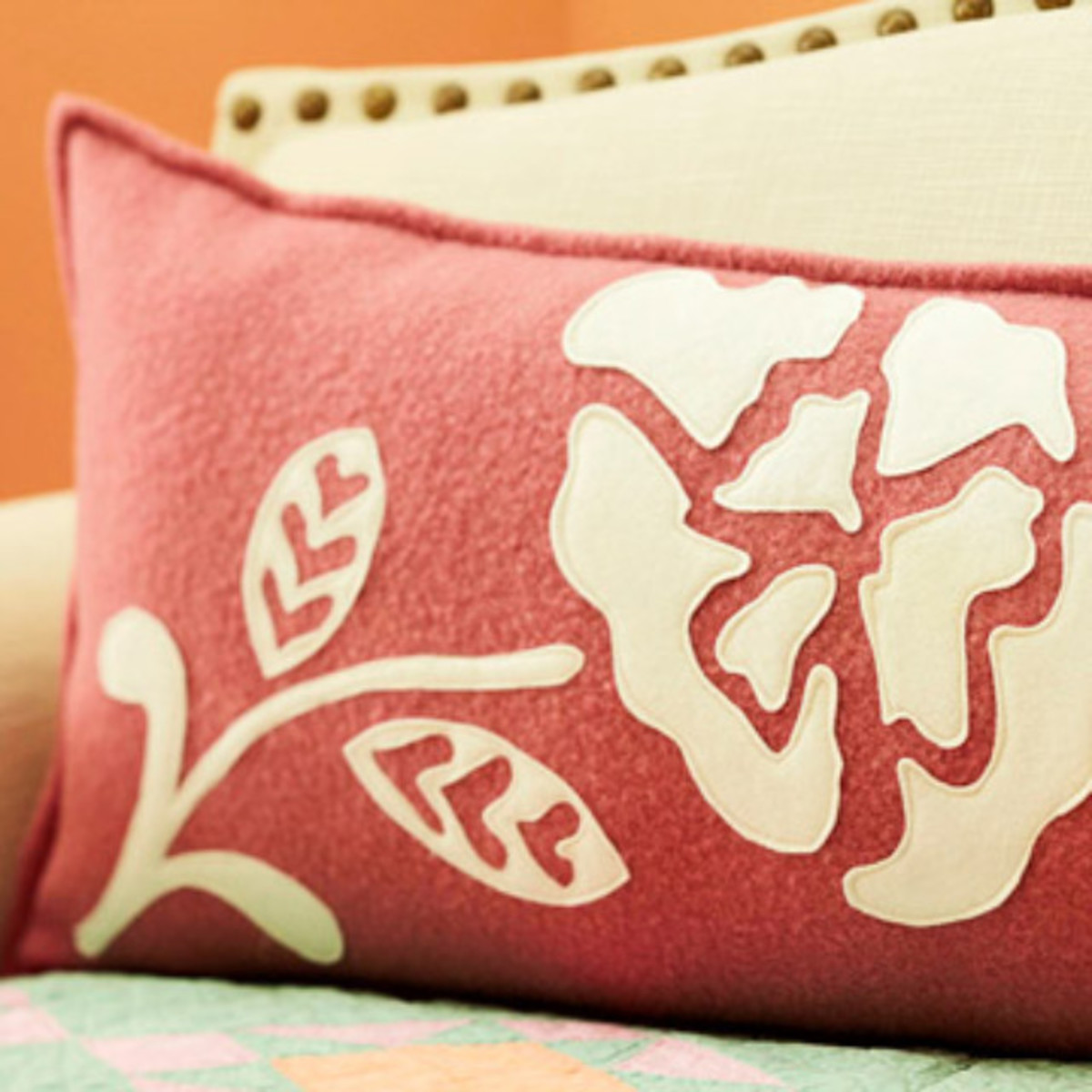 BHG Applique Flower Pillow