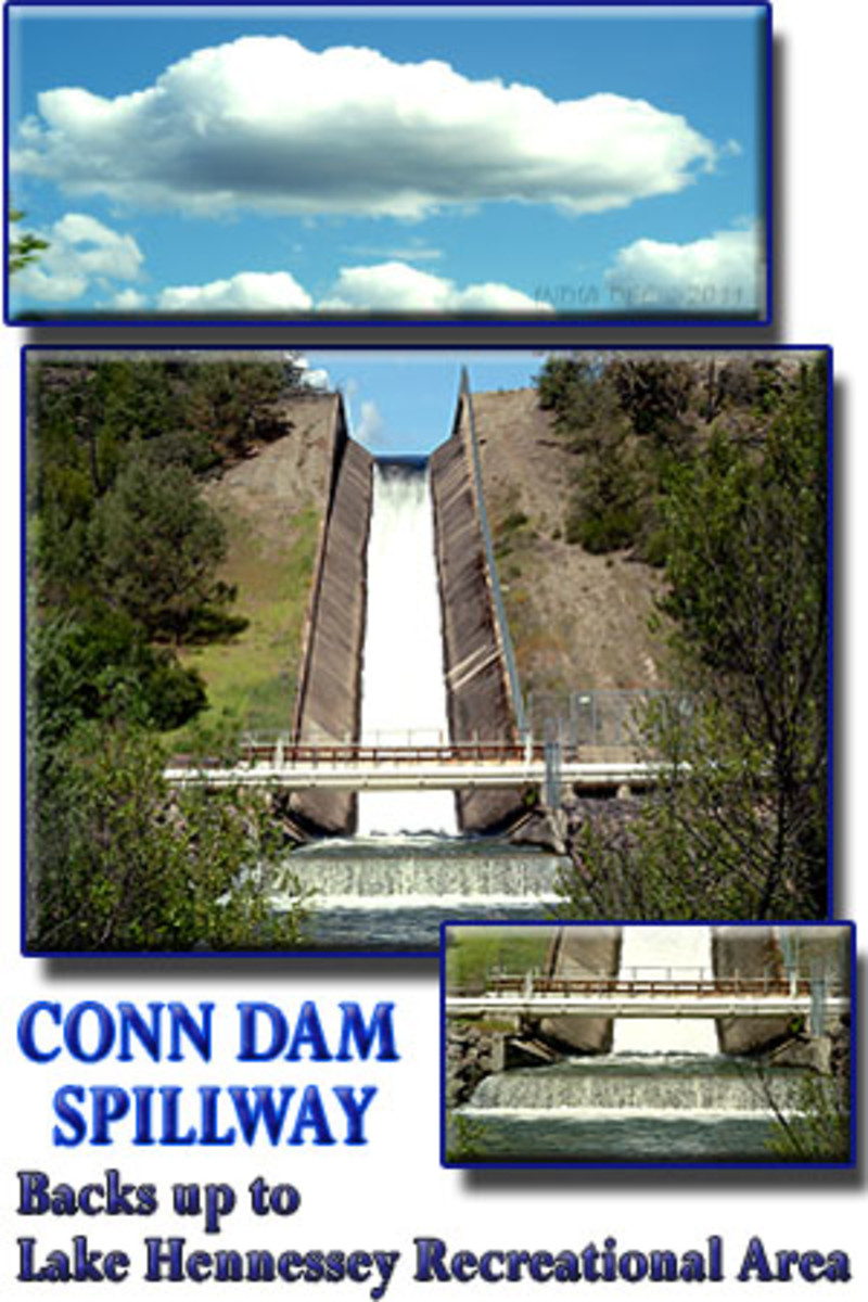 Conn Dam backs up to Lake Hennessey. This is where the water supply for Napa, California is contained. Pictured here is the Conn Dam Spillway in action.