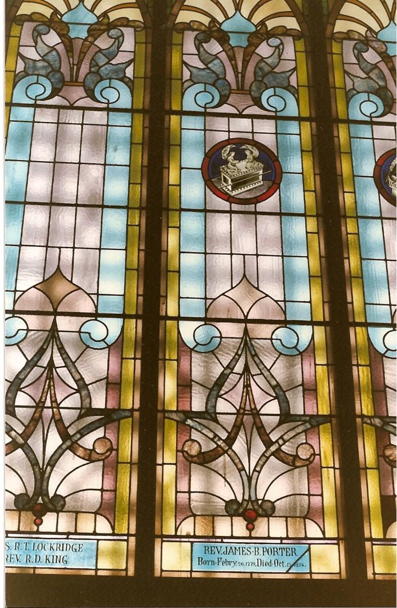 Memorial window in honor of the Rev. James B. Porter at Mt. Moriah Cumberland Presbyterian Church