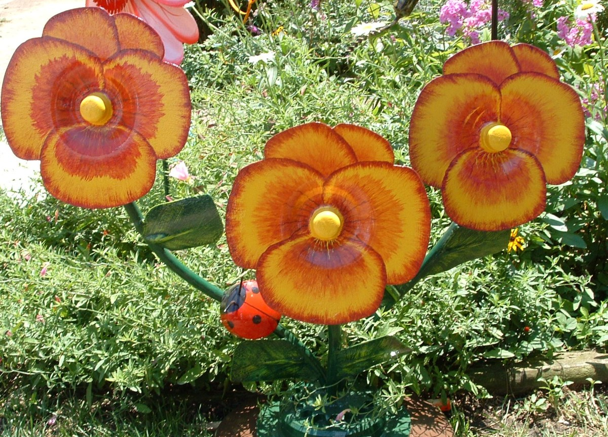 Giant brightly colored pansies with ladybug on stem.