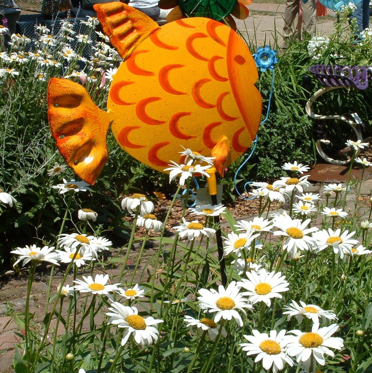 Whimsical fish sculpture.