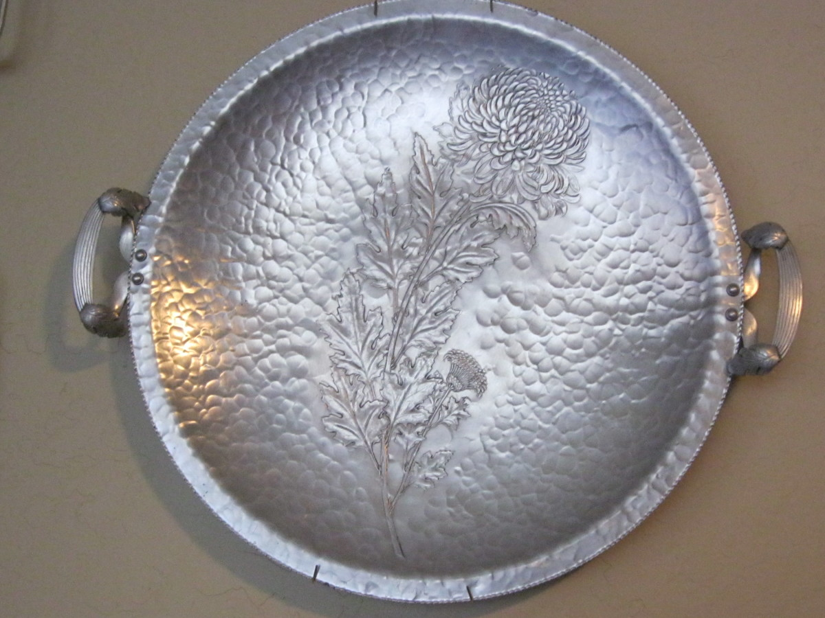 Large Aluminum Serving Tray, Chrysanthemum Pattern, Continental Company