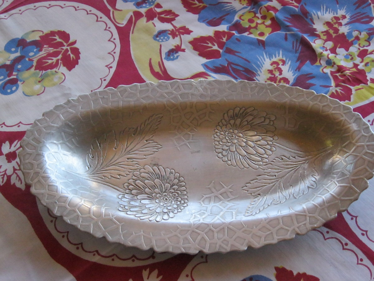 Small  hammered aluminum serving dish