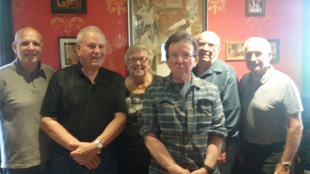 From left to right:  LeRoy, author, Barb, Fred, Ken, and Wayne