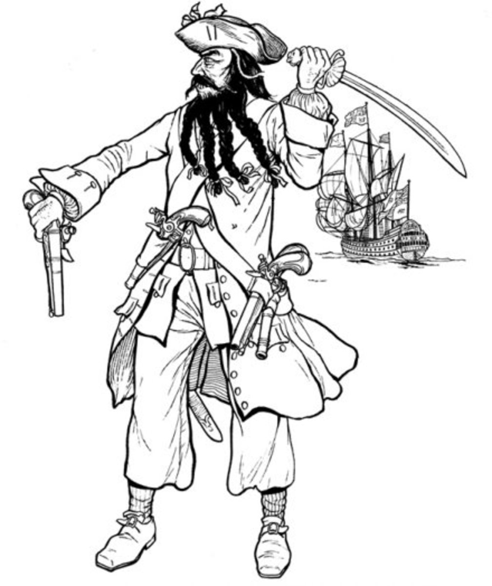 Kids Pirates Coloring Pages Free Colouring Pictures to Print - Blackbeard