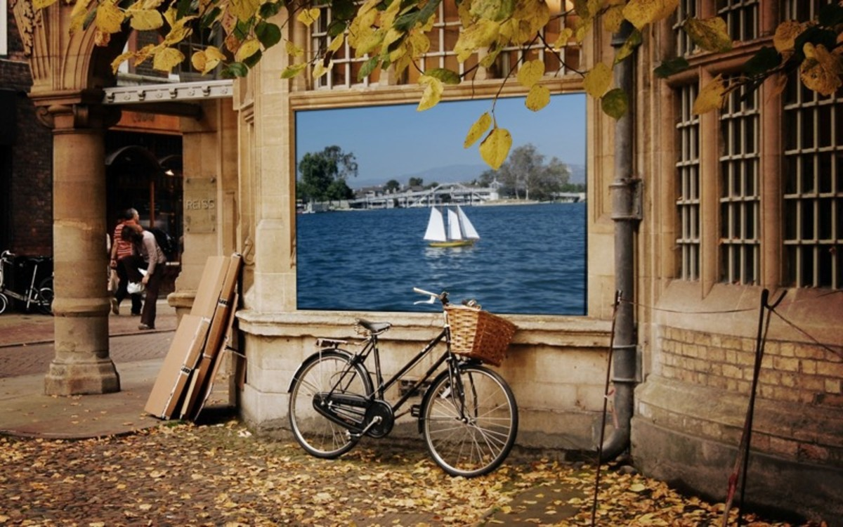 """Loonapix """"Charming autumn in Cambridge"""" frame. This site has a lot of really elaborate add-your-photo-to-a-photo images like this."""