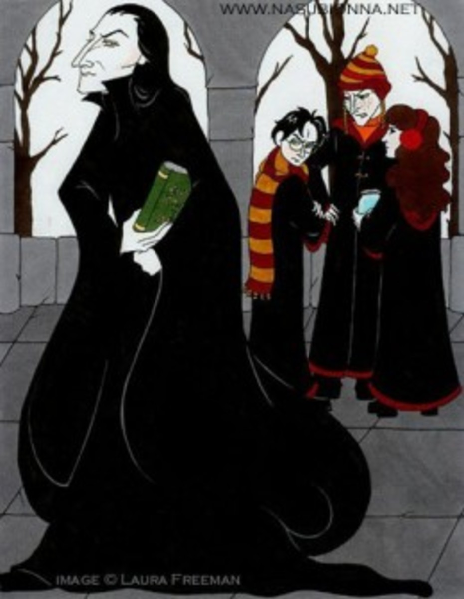 This is a great picture showing the arrogance of Snape and the hatred that Harry hold for him.