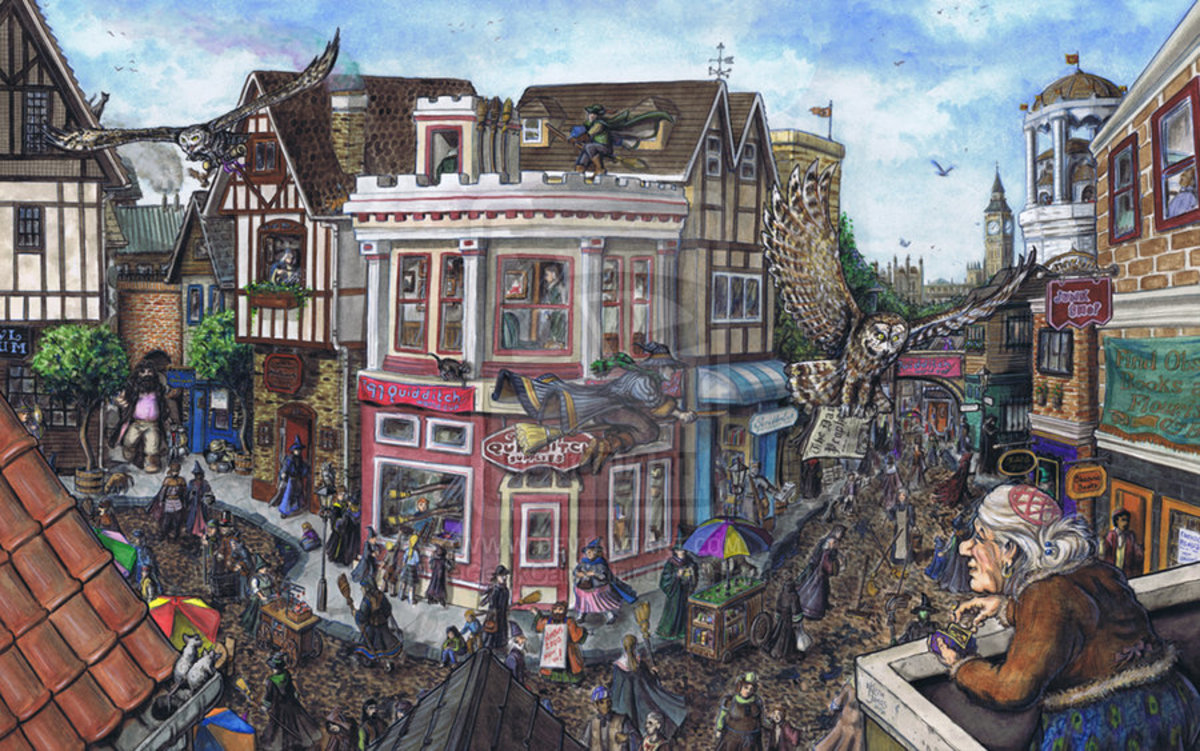 This is a brilliant picture of Diagon Alley and could be taken directly from J K Rowling's brain - you can just feel the atmosphere oozing out of the picture.