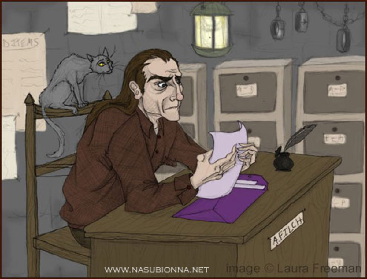 Somehow this picture captures Filch just the way I see him in the book - with Mrs. Norris skulking around in the back, you feel as if this is taken directly from the pages of Harry Potter.