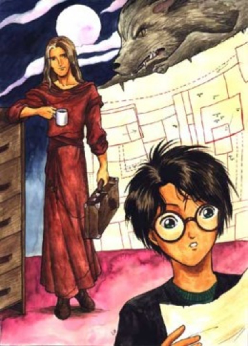 This picture of Lupin and Harry captures the way Lupin looks out for Harry. The addition of the Marauders map and Scabbers also links it to the books very well.