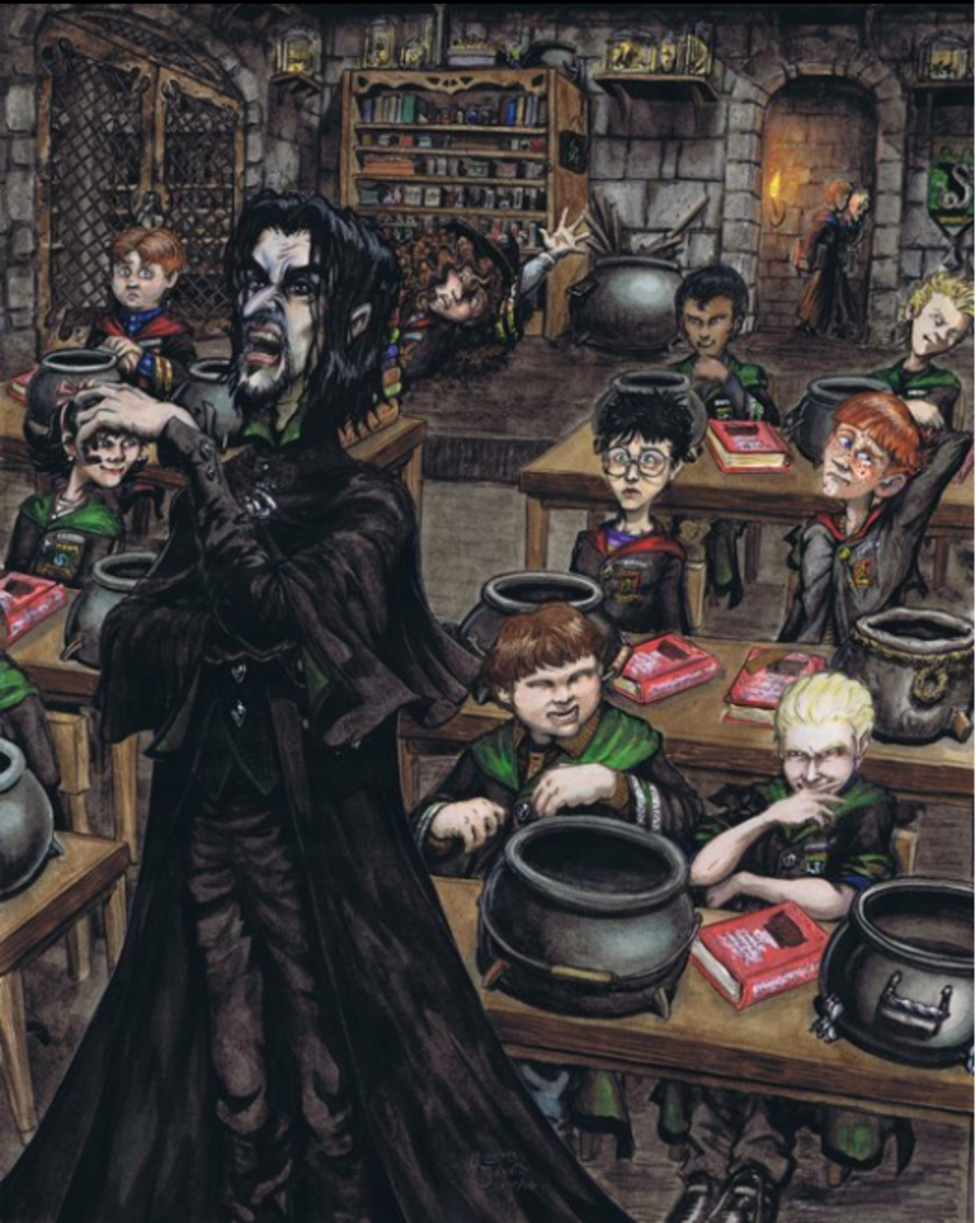 Not only is this a great picture of Snape capturing who he is very well, but all the characters within the picture have their own wonderful idiosyncrasies.