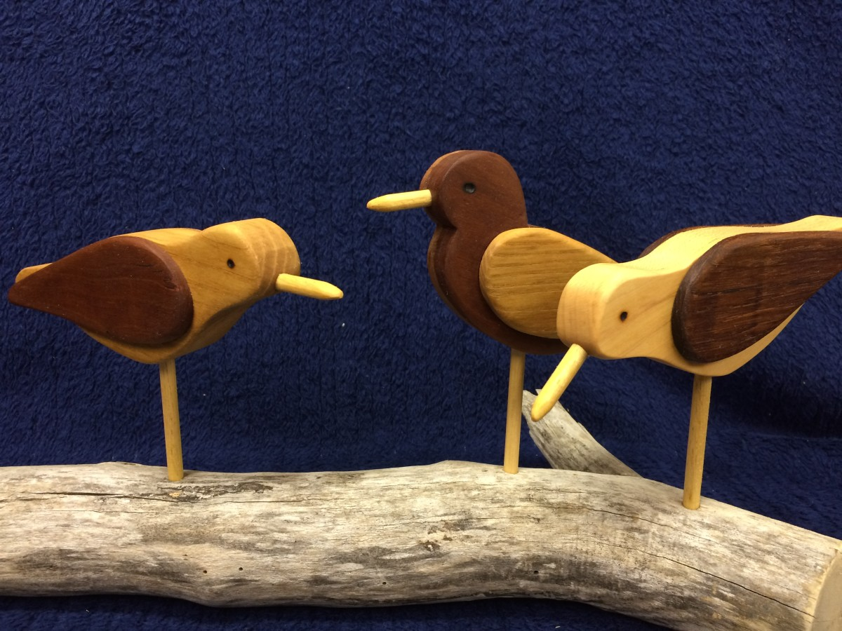 These little sandpipers are made from cherry, oak, teak and ash.