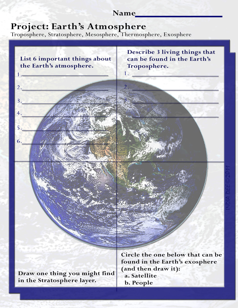 "This fun ""Earth's Atmosphere Project Worksheet"" can be completed in the classroom or as a great homework assignment!"