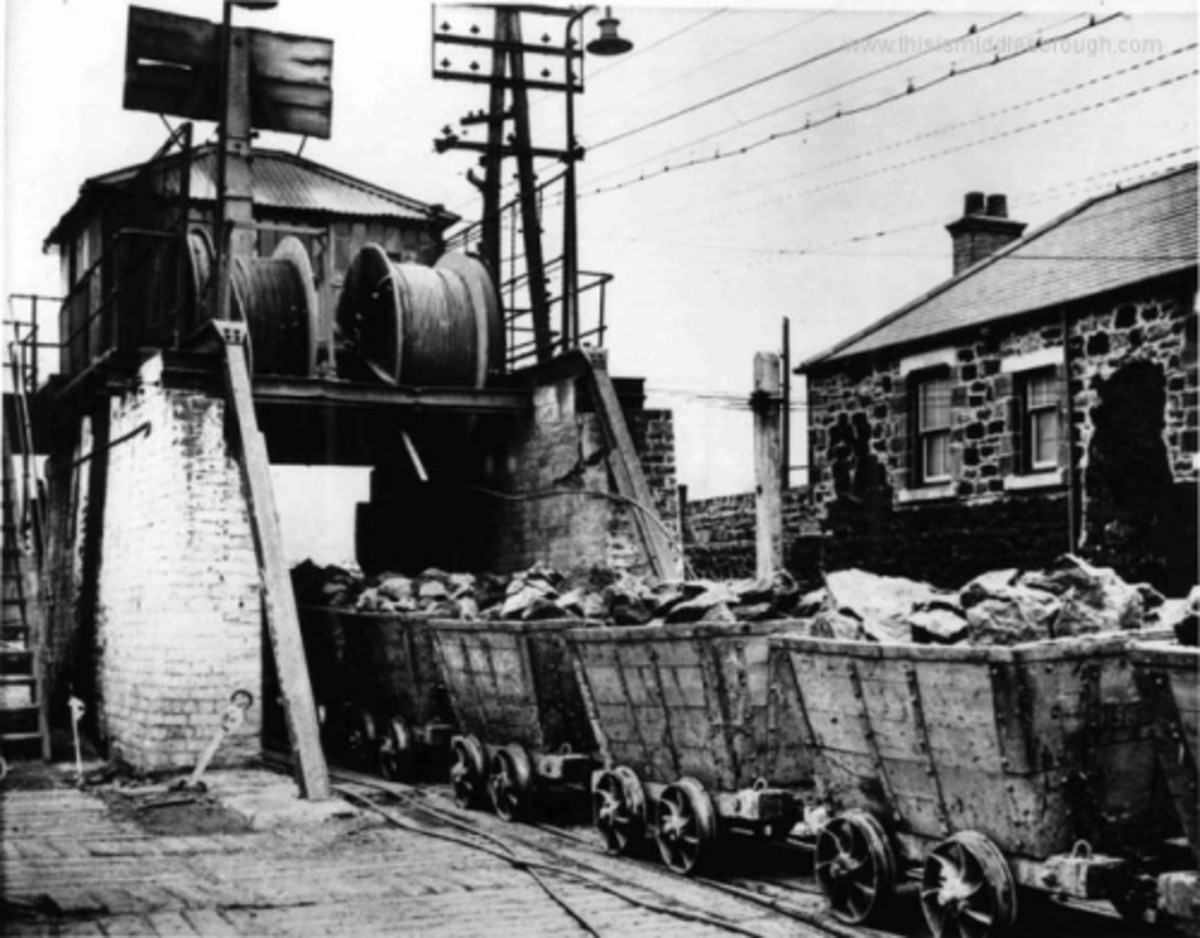 This is the cable drum at Low Drum behind the California Estate . From here wagons were lowered by the narrow gauge line under the Redcar road to the tipping yard
