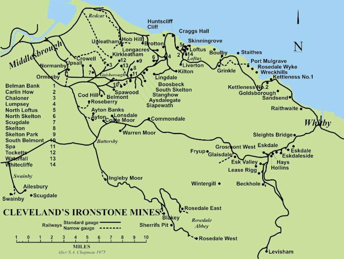 The extent of operations between Swainby in the west and Raithwaite in the east of the Cleveland area, from Eston in the north to Rosedale in the south. Workings had been opened in Roman times and petered out in the mid-1960s