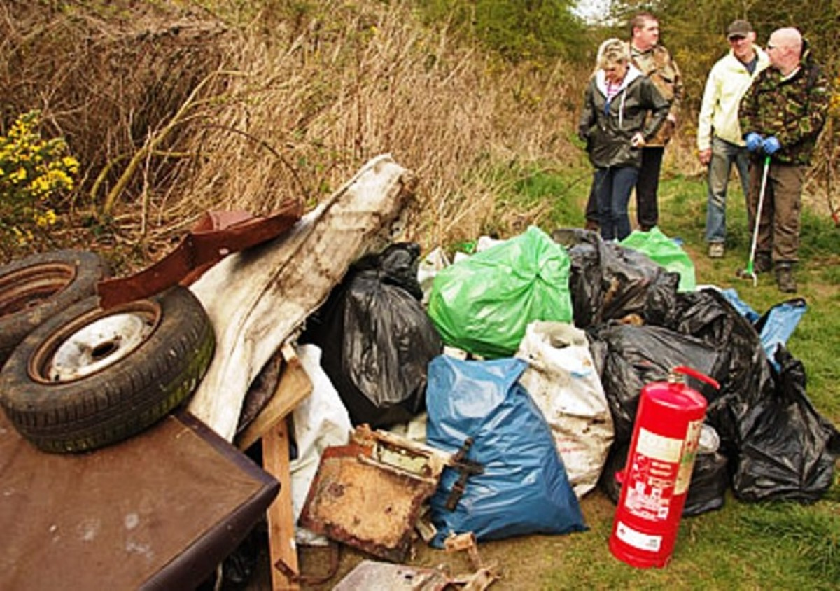Part of the Litterpick haul: old tyres, boxes, a fire extinguisher (?) and lots of bagged rubbish