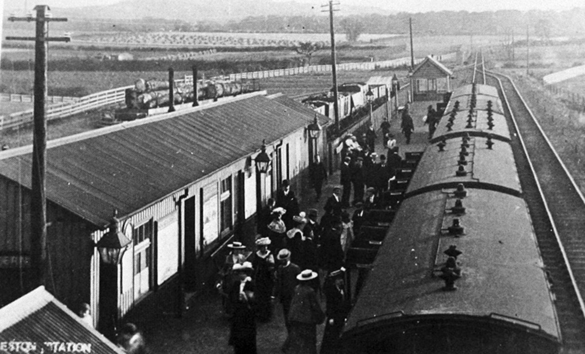 Eston Station, summer 1902, the year of opening (1.1.02) with passengers alighting at the onset of a day out on Eston Hills