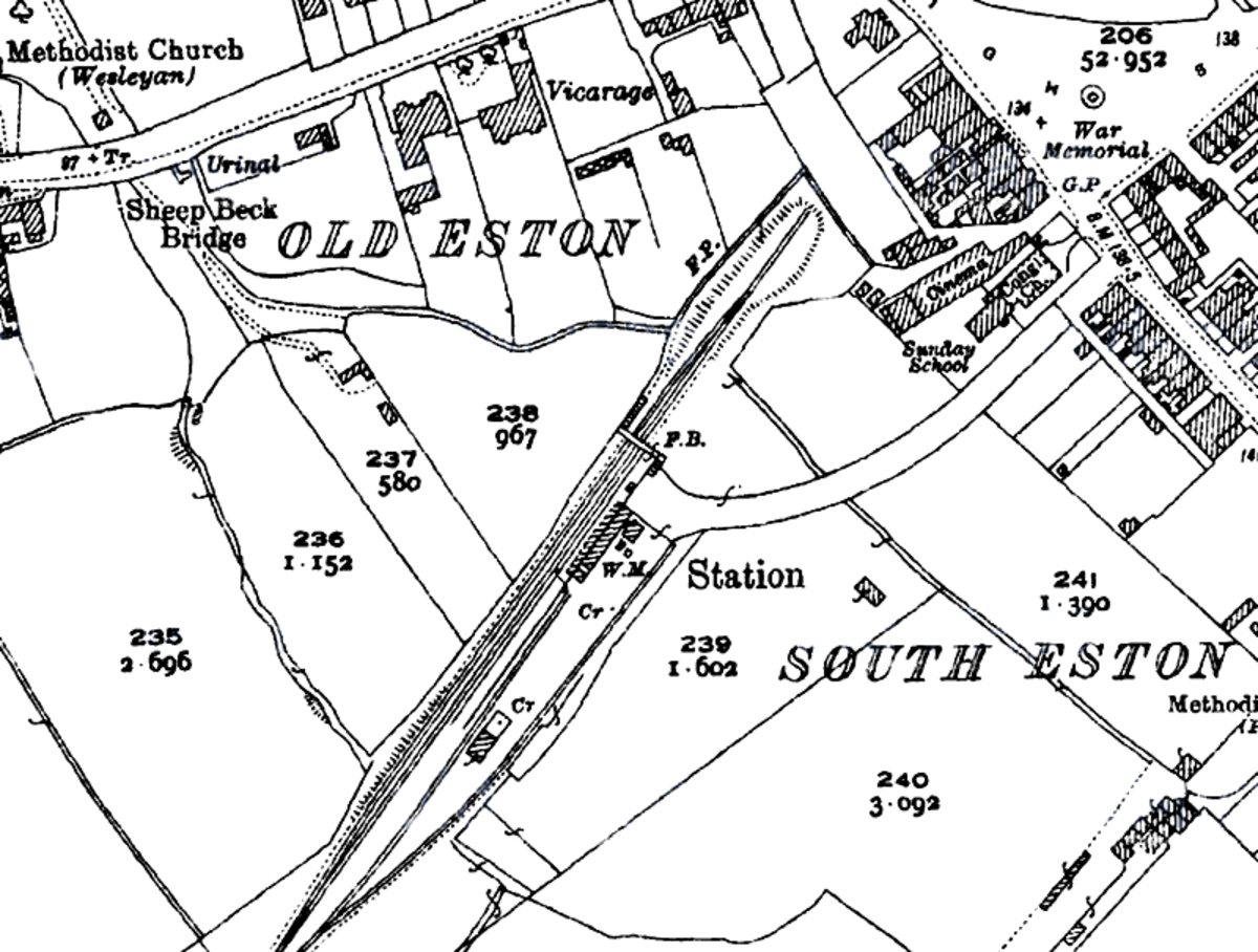 Ordnance Survey of Eston Station site 1928, a year before closure to passengers. Council houses were built the south of the station post- WWII. The site was cleared of the Co-op coal depot in October, 1966 for sheltered housing when branch closed