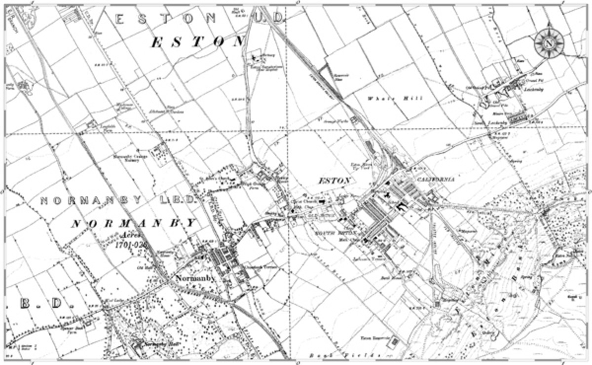 At Eston mine tramways fan out bottom right to the drifts at New Bank, Old Bank and Trustee, through which Upsall Pit's ore passed. Standard gauge wagons carried raw ore from the Tip Yard  Eston to the crusher at Grangetown until closure 1949
