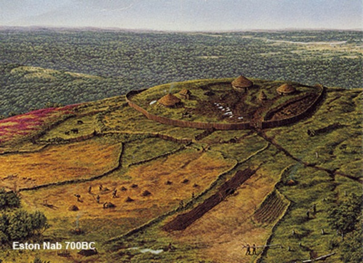 An artist's impression of the Iron Age hill fort that dates back to 700 BC, traces of which were found near the Nab at the top of the escarpment.