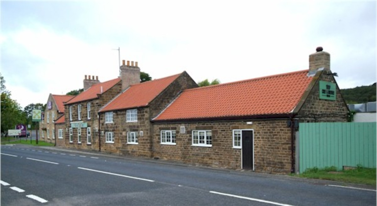 The Cross Keys Inn near Upsall on the A171 Guisborough-Nunthorpe road - the original trackbed ran behind here and earthworks are still very  visible