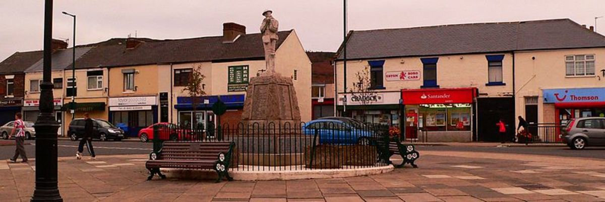 Looking towards the war memorial on Eston Square. seen by people passing through from Middlesbrough to Saltburn/Redcar. Jubilee Road, right off the picture, leads (second right)  to Ayton Crescent where we lived, 1955-65. We felt welcome here.