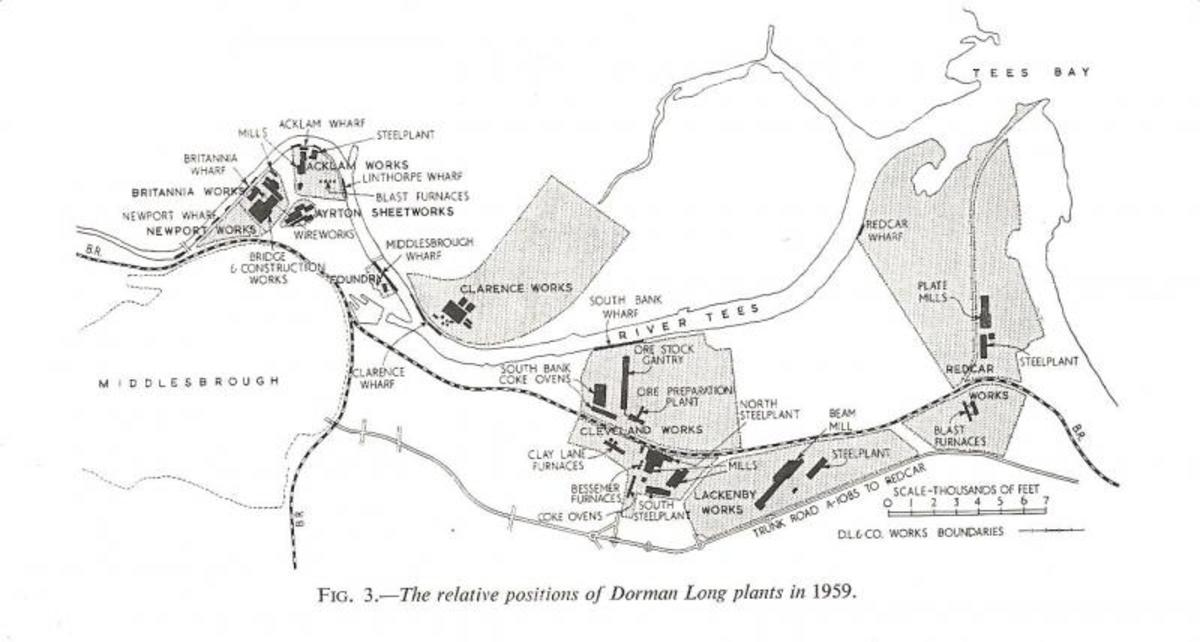 Dorman Long's holdings on Teesside in 1959. Dorman Long owned Eston Mines until closure in 1949, by which time much of the stone came in by sea to Eston Jetty and westward along the Tees.