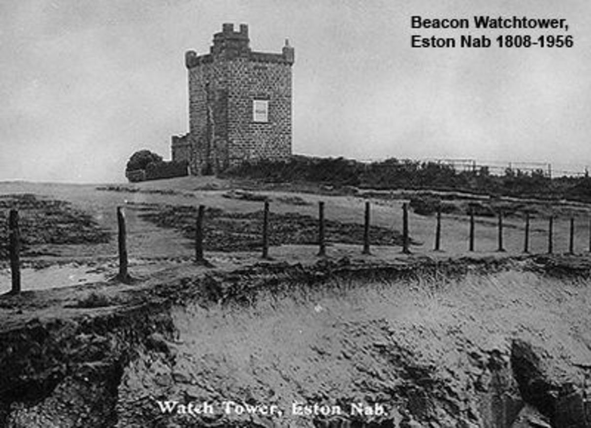 The earlier beacon tower built during the Napoleonic War in 1808, demolished in 1956 with a huge crack in its north-east wall - replaced by...