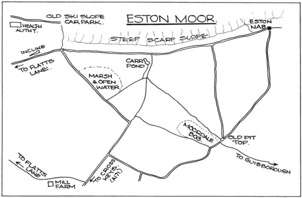 Eston Moor with the rim of the escarpment - top - and footpaths to the old mine and cottages (Upsall Pit)