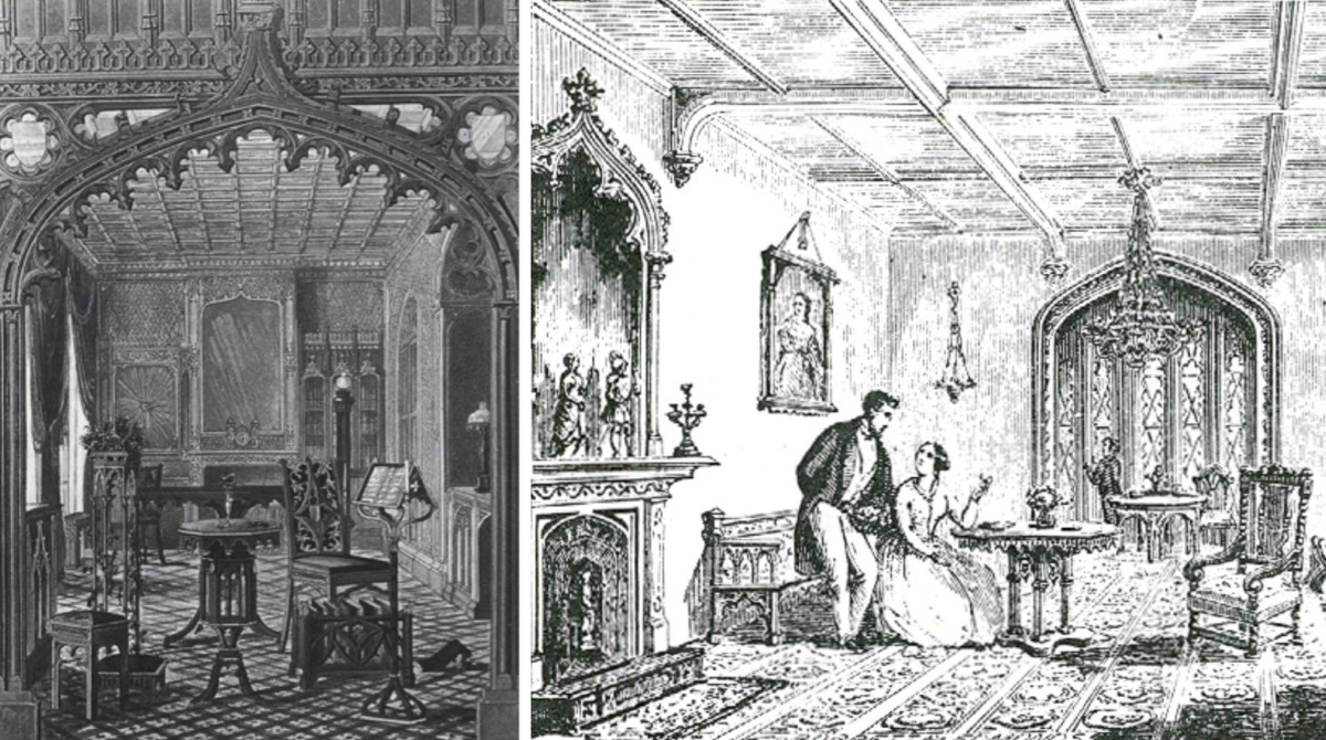Left: Pugin's sketch of a gothic revival interior and furniture he designed. Right: 1850 period illustration of a gothic revival drawing room (artist unknown).