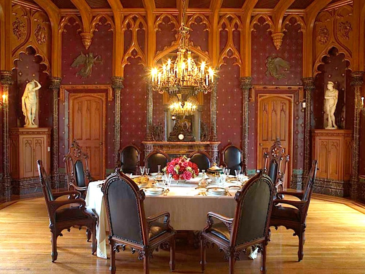 The dining room at historic Lyndhurst Castle in Tarrytown, NY. Designed by Alexander Jackson Davis, the room was built in the 1860s.