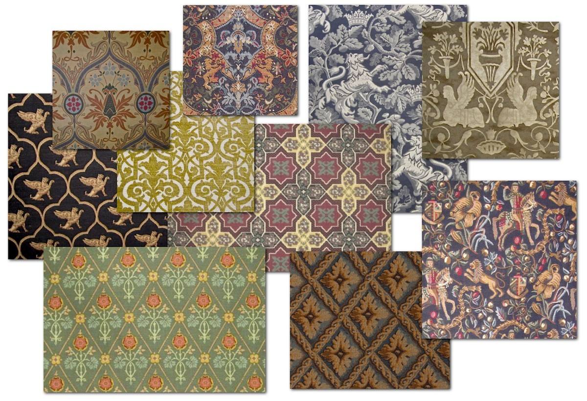 Fabrics that feature gothic motifs and, in some cases, reproduce original gothic revival designs. The fabrics shown in the upper and lower left corners of the fabric montage below are reproductions of original Pugin designs. All fabrics courtesy of