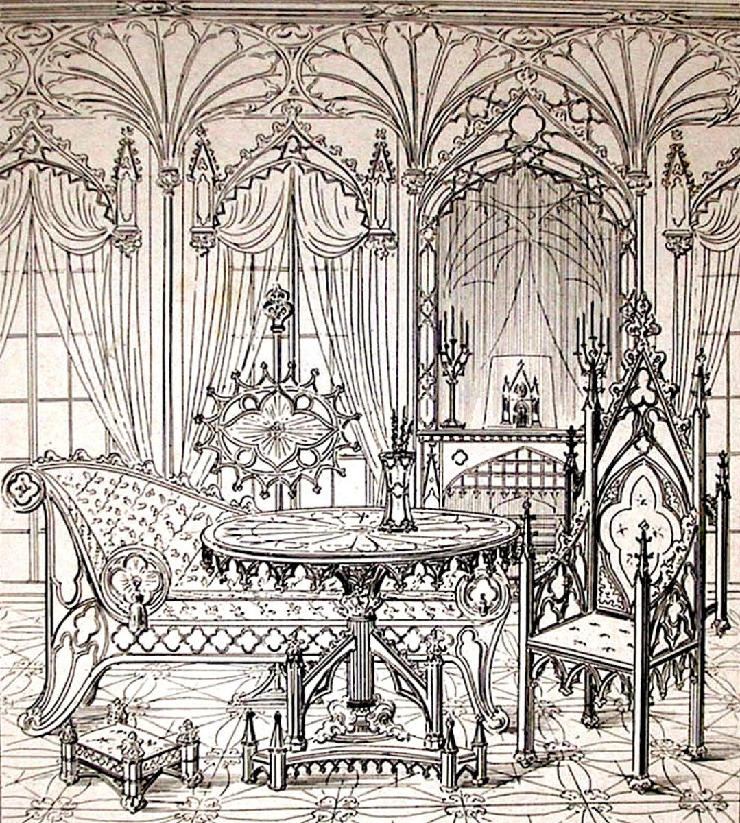 "A reproduction of one of the Gothic room  illustrations from the original 1841 publication of ""True Principles of Pointed or Christian Architecture"" by Augustus Welby Pugin."
