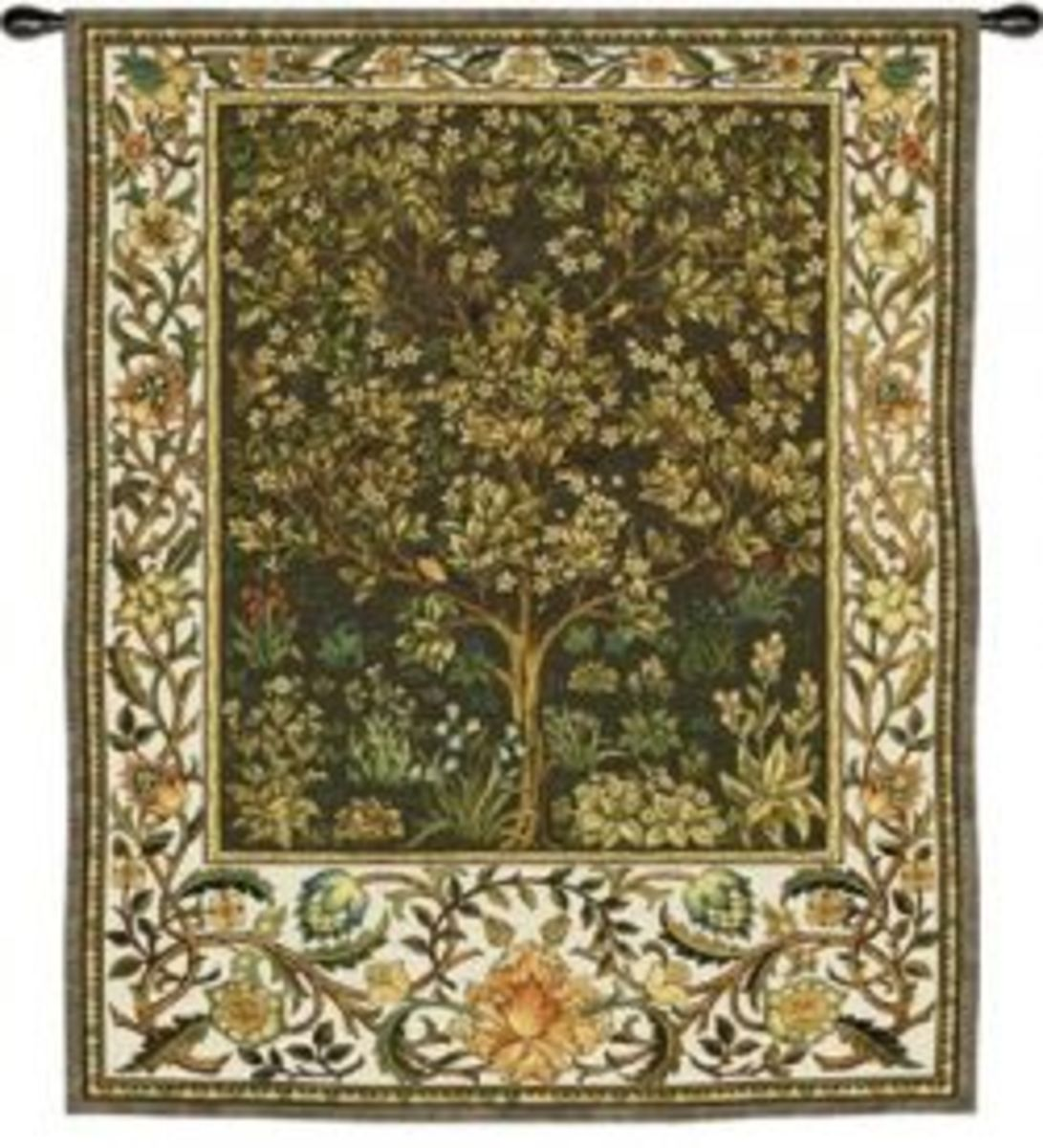 Tree of Life Tapestry designed by William Morris. The Tree of Life was a frequent Gothic Revival theme.