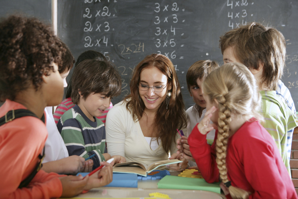 Teacher with students