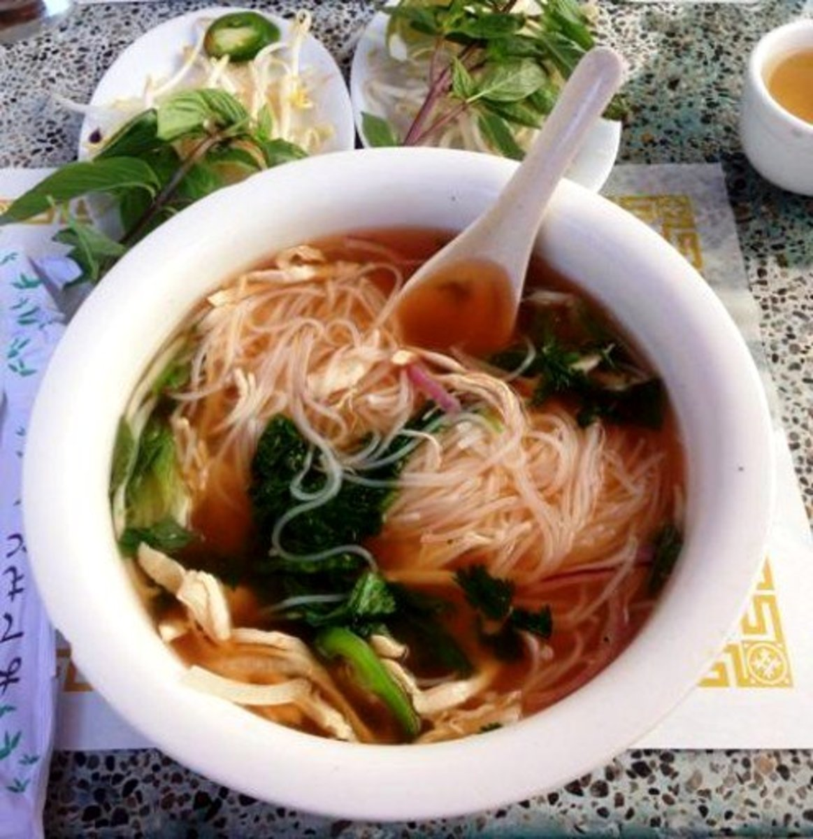 Hand-pulled noodles are often served with a beef or mutton soup.